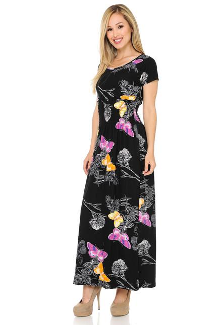 Buttery Soft Short Sleeve Beautiful Butterfly Maxi Dress