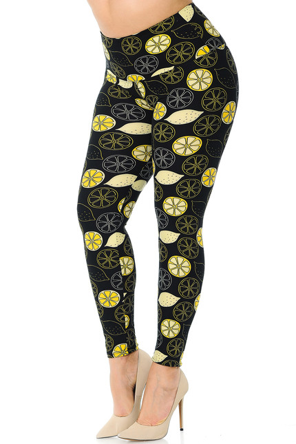 Buttery Soft Juicy Summer Lemons High Waisted Plus Size Leggings
