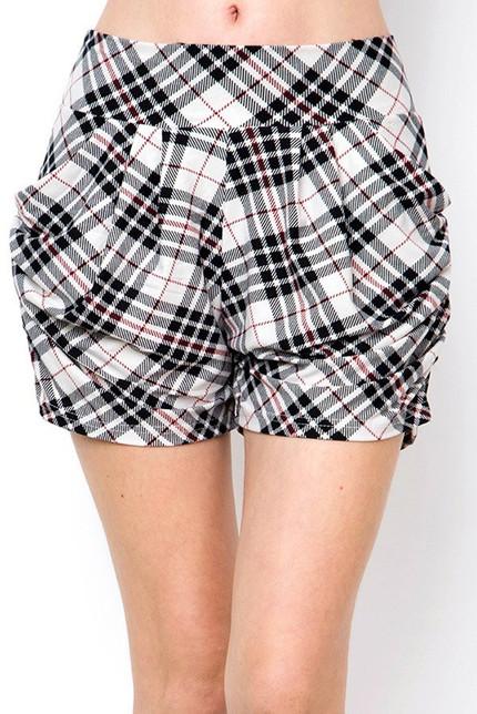 Buttery Soft Contour Angled Plaid Harem Shorts