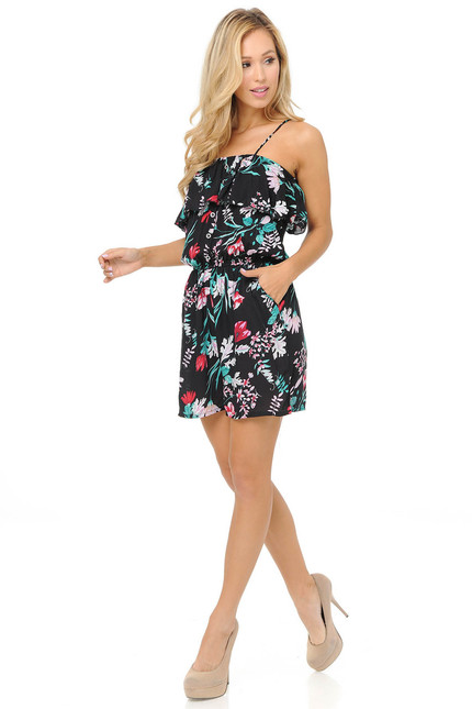 Fashion Casual Blooming Floral Frond Romper