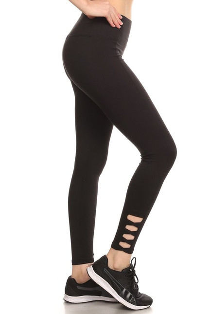 Ankle Crisscross Solid Workout Leggings