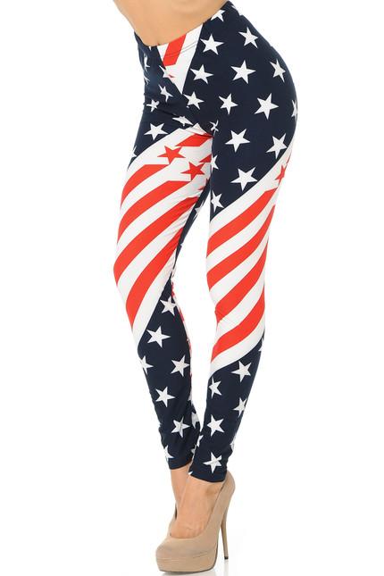 Buttery Soft Swirling USA Flag Plus Size Leggings