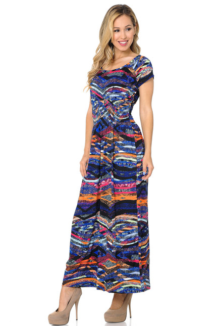 Buttery Soft Short Sleeve Colorful Bands Maxi Dress