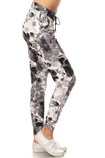 Buttery Soft Black and White Floral Joggers