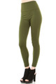 Olive High Waisted Banded Fleece Lined Leggings - Sizes 0 - 4