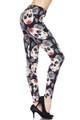 Rosette Sugar Skull Plus Size Leggings - 3X-5X