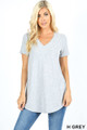 Premium Short Sleeve V-Neck Round Hem Top