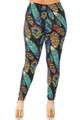 Buttery Soft Florid Feathers Plus Size Leggings