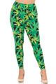 Buttery Soft Cannabis Marijuana Extra Plus Size Leggings - 3X-5X - EEVEE