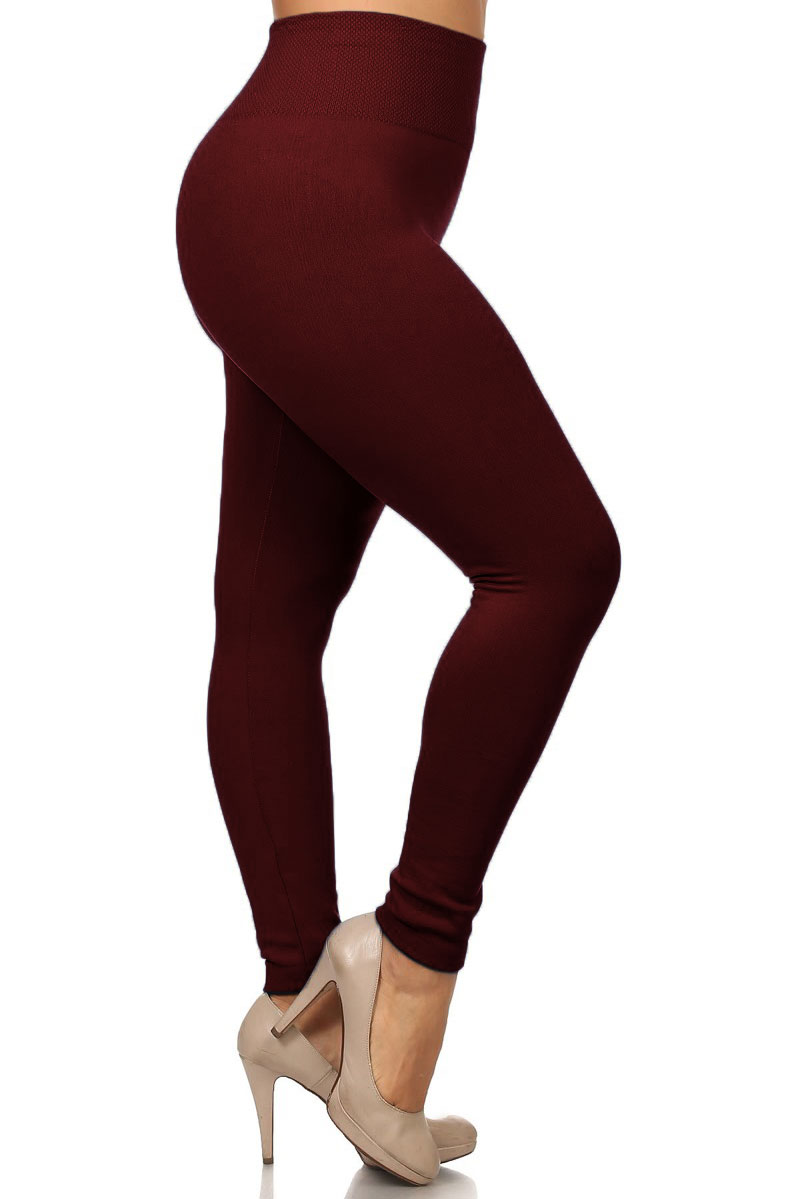 075dcfbe5c6 Banded High Waist Fleece Lined Leggings - Plus Size