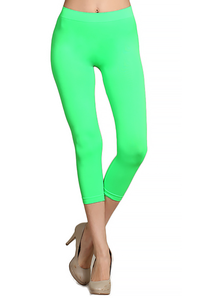 c543c984c32ee6 Neon Nylon Spandex Capris | World of Leggings