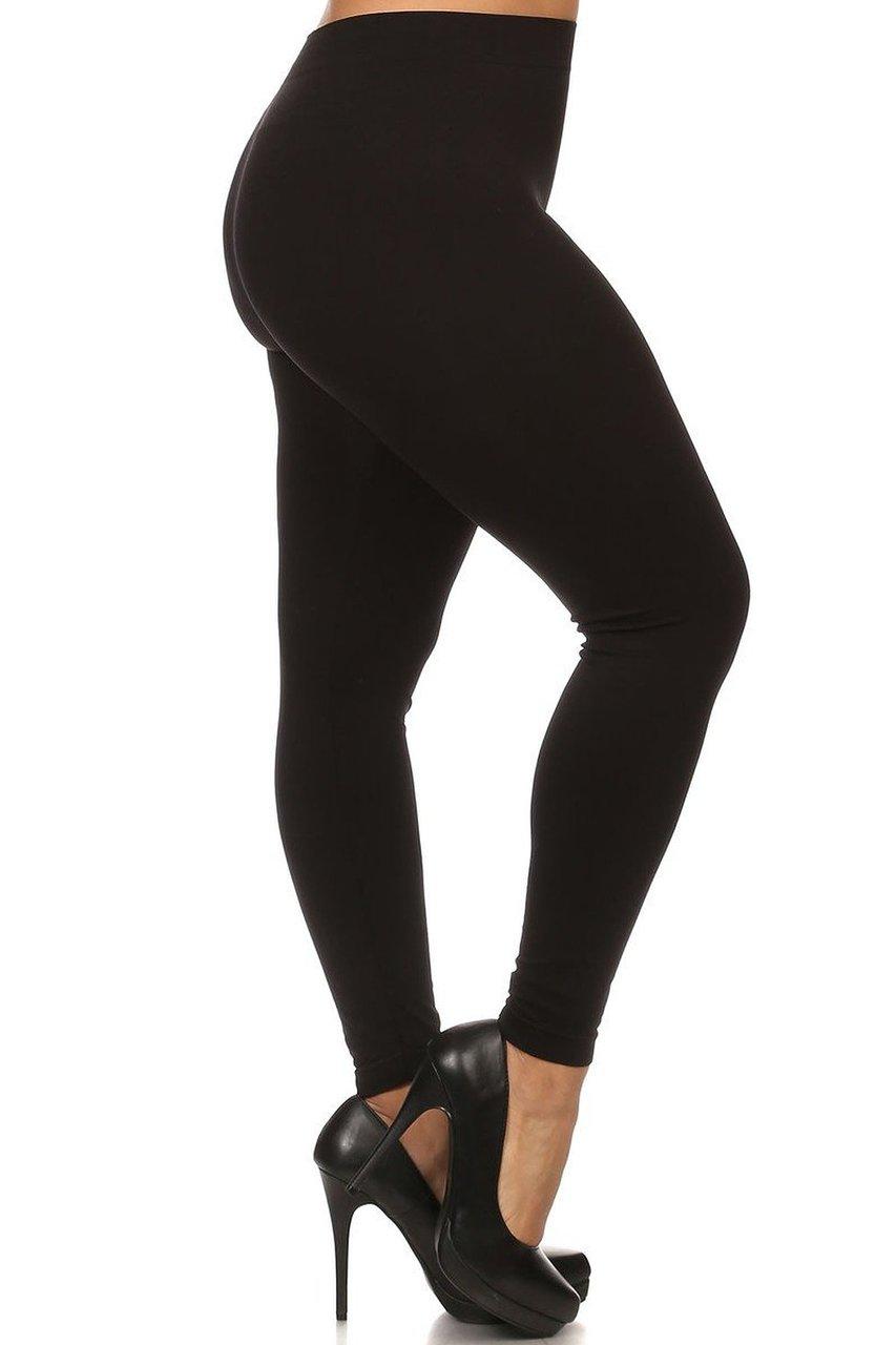 fbf29297e Black Full Length Nylon Spandex Leggings - Plus Size
