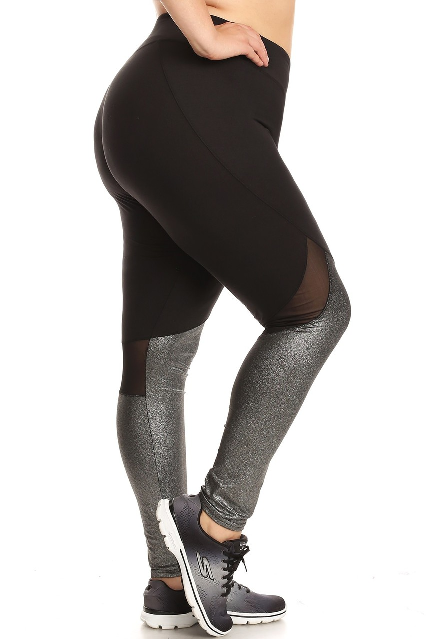 155acc16bc6c4d Duo Blend Mesh Plus Size Sport Leggings | World of Leggings