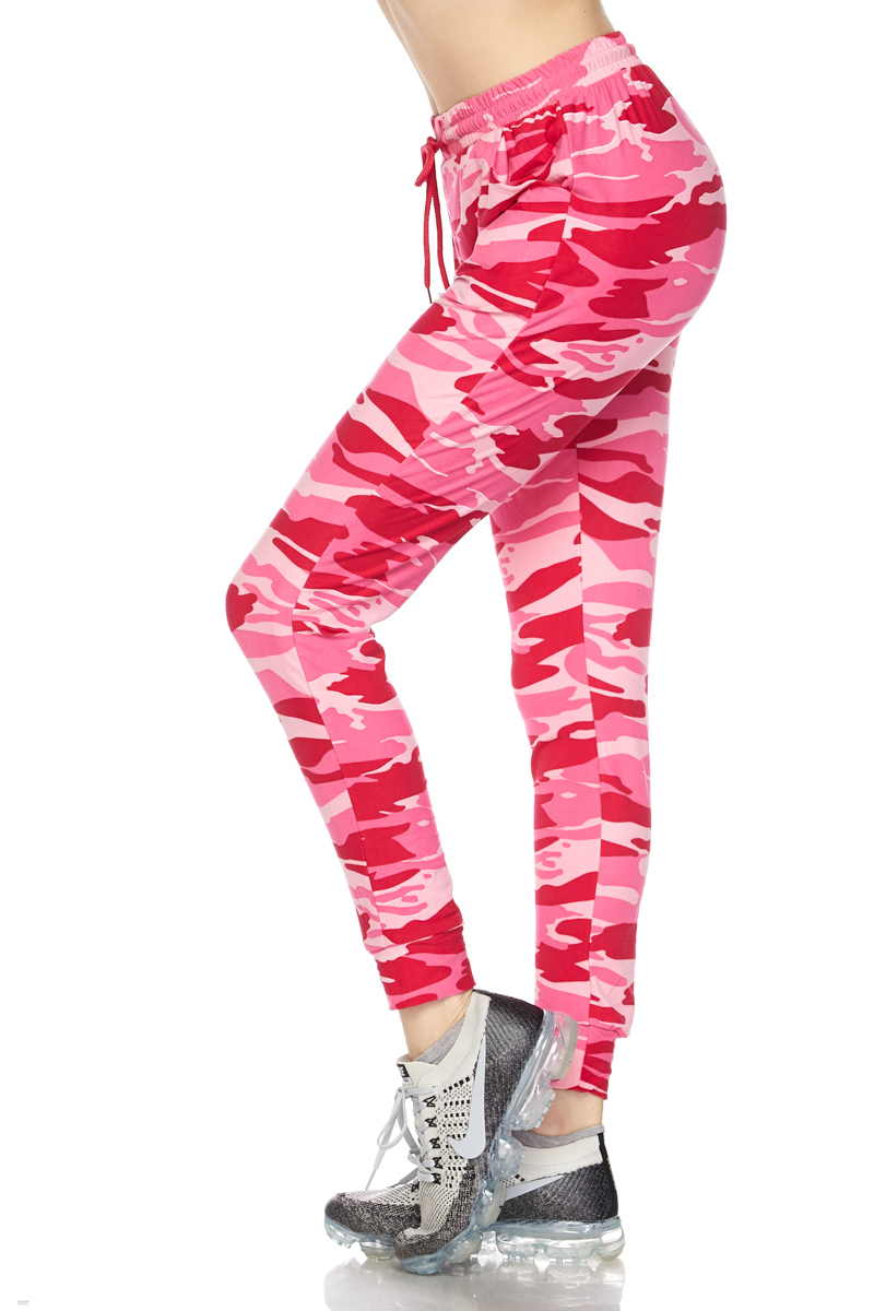 41007ed30cf3b Buttery Soft Pink Camouflage Joggers | World of Leggings