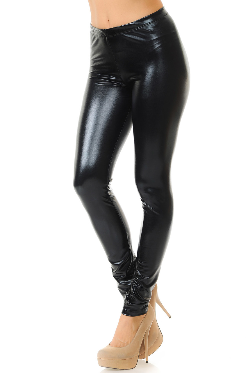 6641a9c46b17f Shiny Black Faux Leather Leggings | World of Leggings
