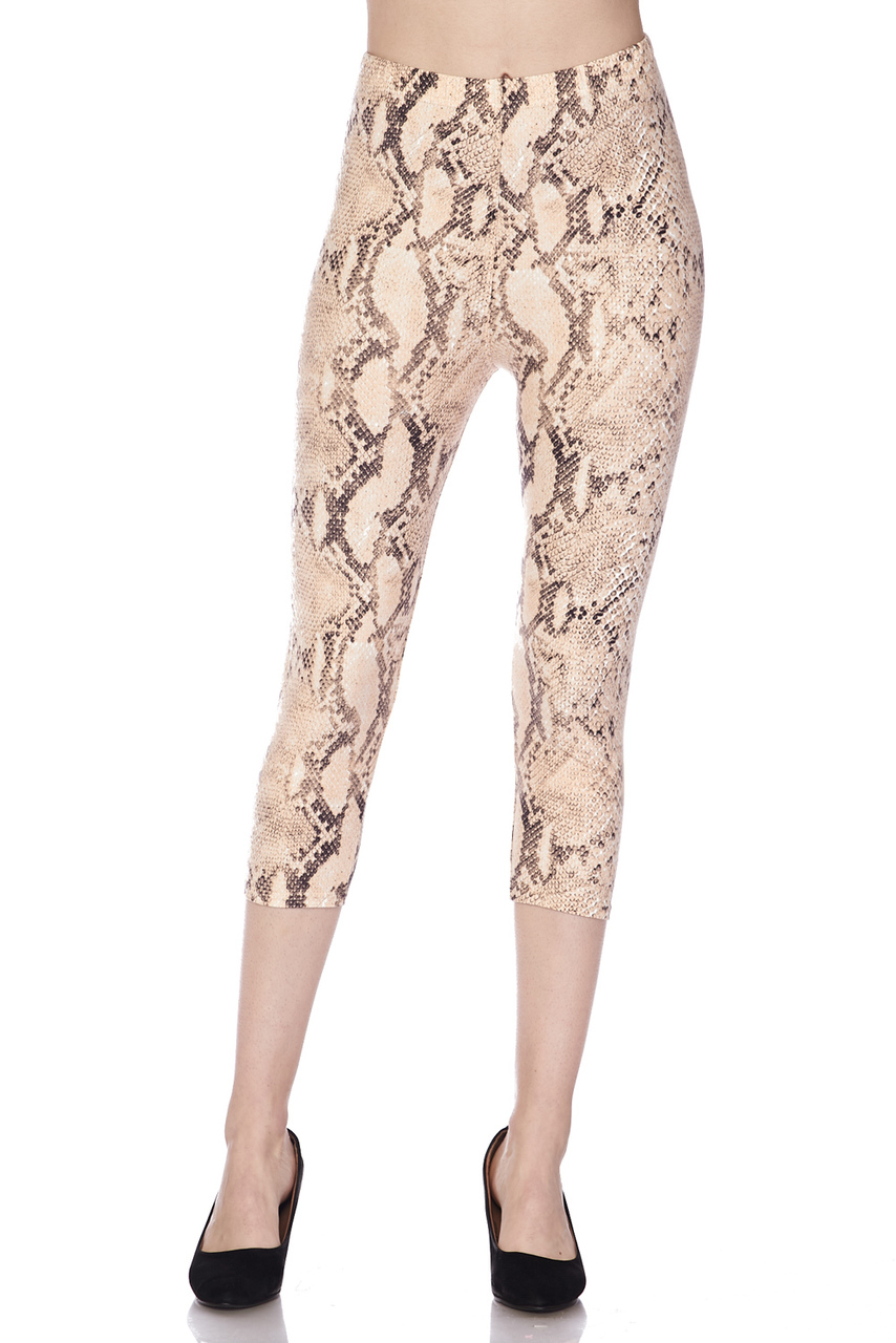 d63a56b3386526 Buttery Soft Cream Snakeskin Plus Size Capris | World of Leggings