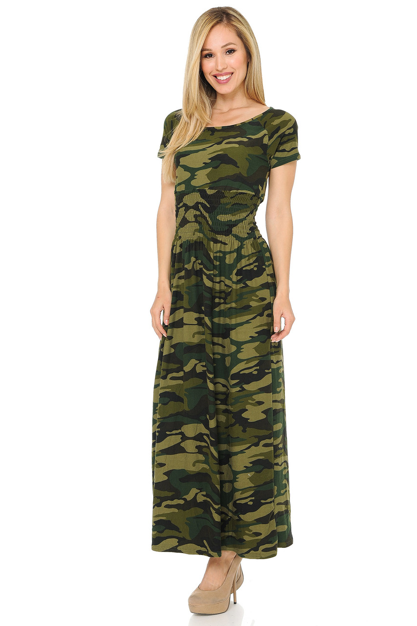 9af1e875c4e Buttery Soft Short Sleeve Camouflage Maxi Dress