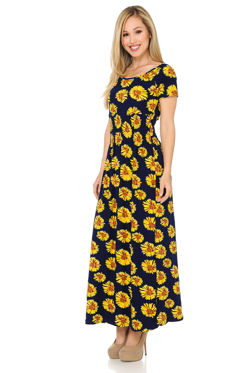 fbb7c09f8bc6 Buttery Soft Short Sleeve Summer Daisy Maxi Dress | World of Leggings