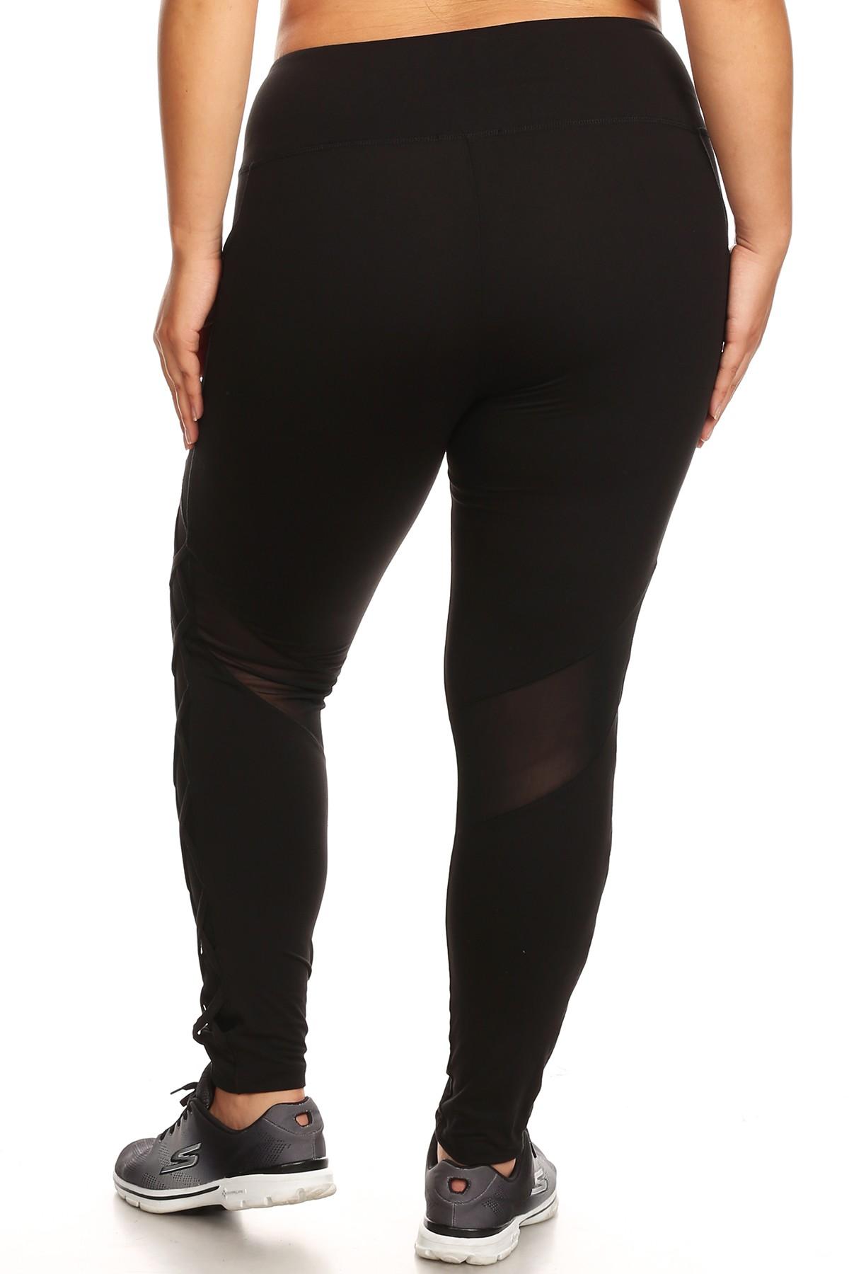 600e80de079 Women s Crisscross Mesh Workout Plus Size Leggings