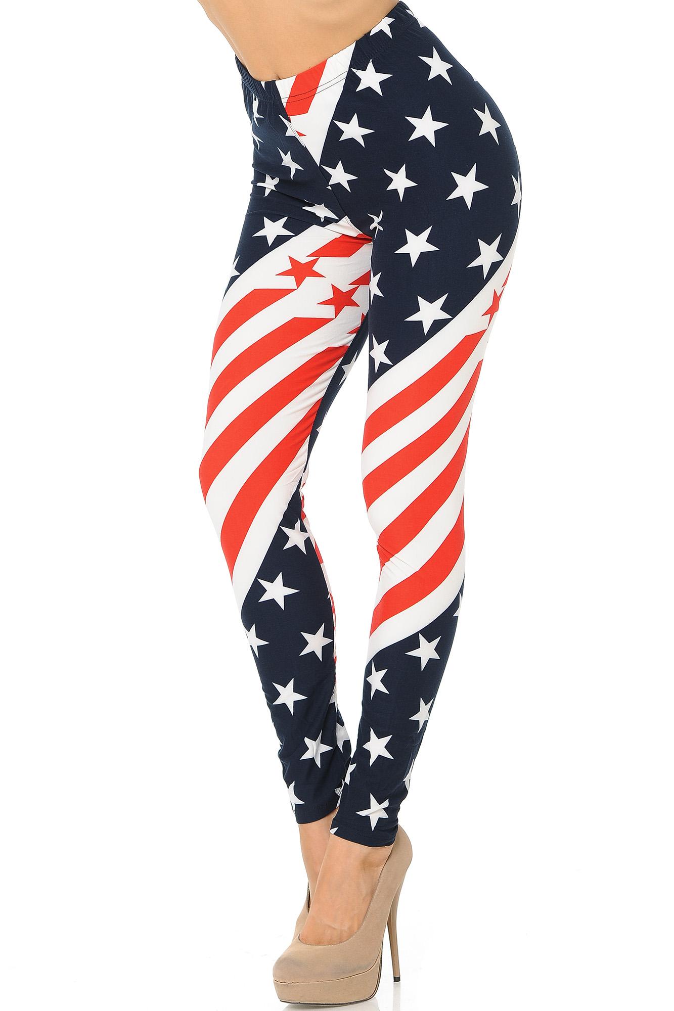 00502da053c6c2 Buttery Soft Swirling USA Flag Plus Size Leggings | World of Leggings