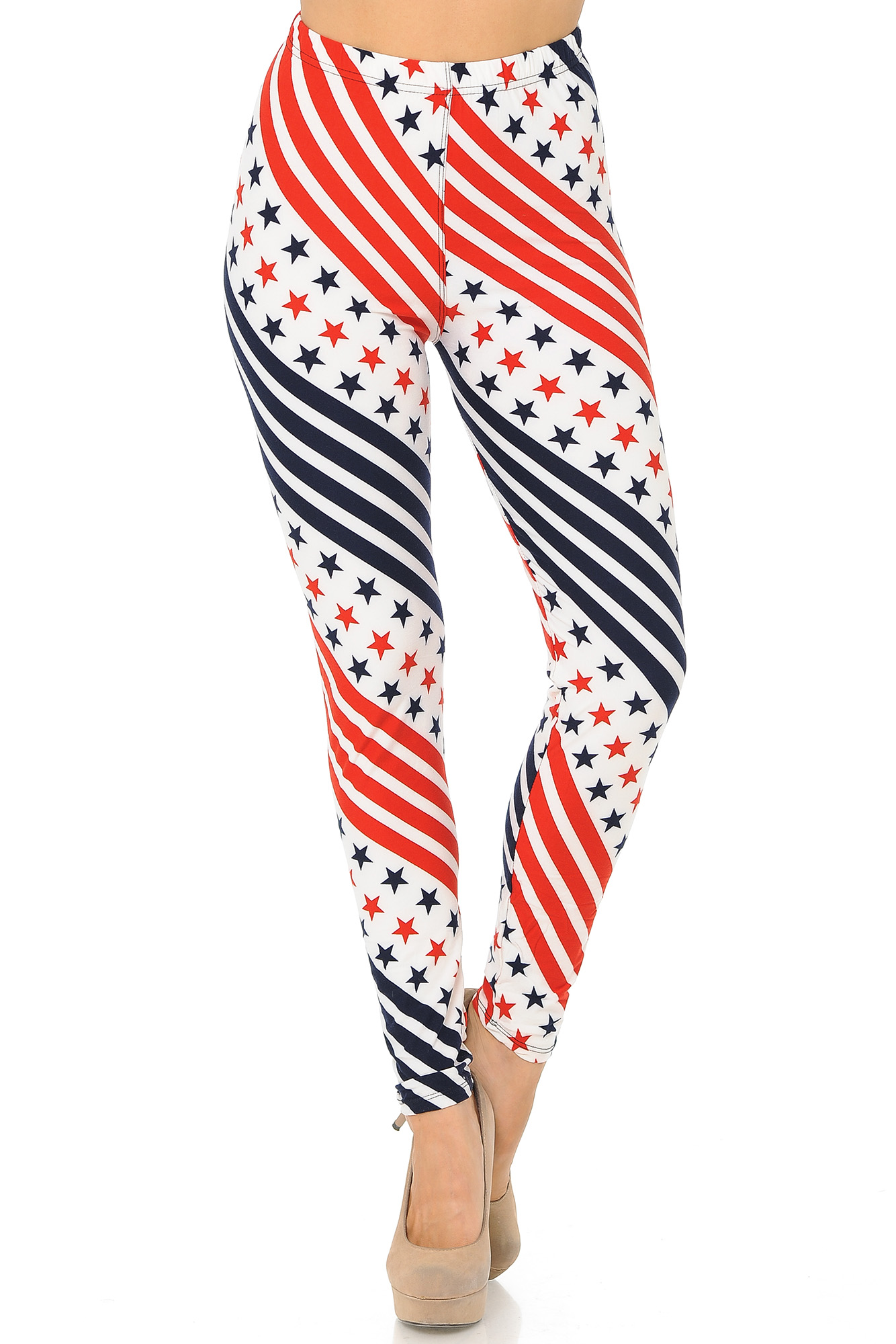 a47e26fe882bb4 Buttery Soft Twirling Stars and Stripes USA Flag Plus Size Leggings ...