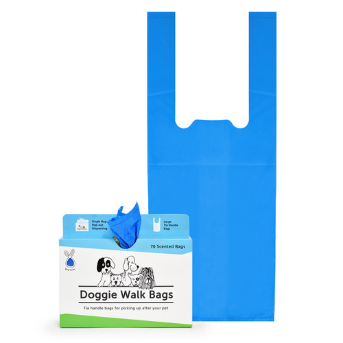 70 Blue Dog Poop Bags with Tie Handles. Large Baby Powder Scented Dog Waste Bags.