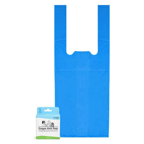 25 blue tie handle dog waste bags in one-at-at-time dispensing box