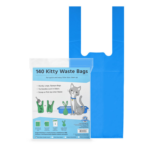 140 Cat litter bags with easy tie handles