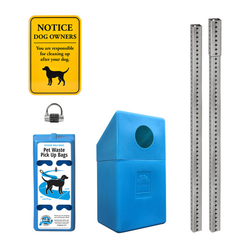 4 Roll Dispenser Set with Dispenser, Sign, Trash Bin, Galvanized Steel Posts and Word Lock