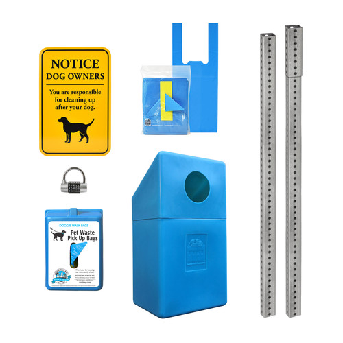Tie Handle Mini Dispenser Set with Dispenser, Sign, Trash Bin, Galvanized Steel Posts and Word Lock
