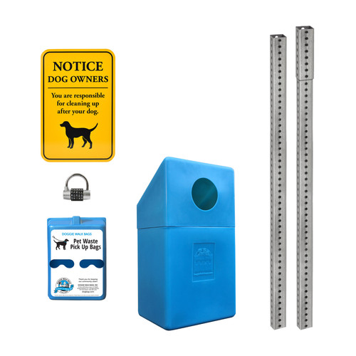 2 Roll Mini Dispenser Set with Dispenser, Sign, Trash Bin, Galvanized Steel Posts and Word Lock