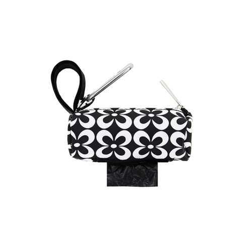 Round Duffel Holder with Black and White Flower Print