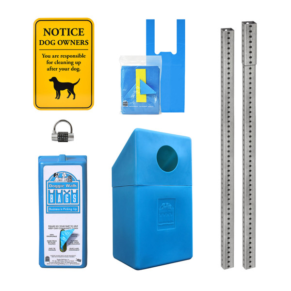 Tie Handle Dispenser Set with Dispenser, Yellow Sign, Trash Bin, Galvanized Steel Posts and Word Lock