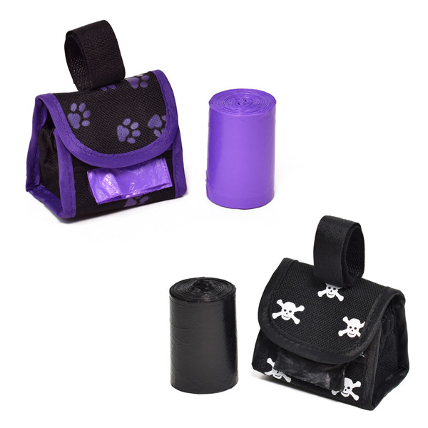 Purple Paw and Black Skull Pouch Waste Bag Holder