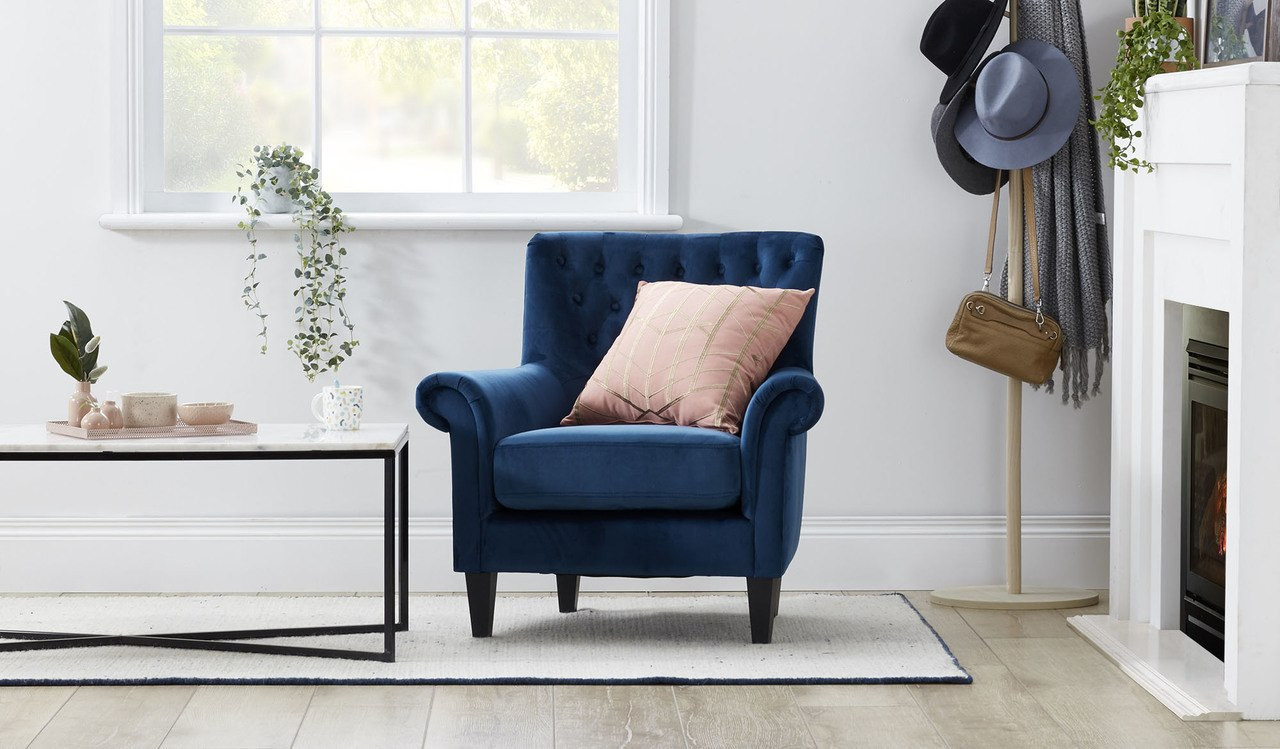 Adela navy velvet feature chair with tufted button back rolled arms lifestyle hero