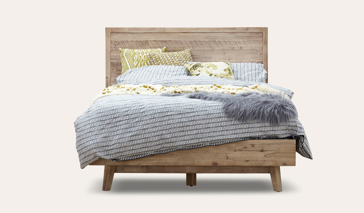 Picture of: Duke Smokey Grey Wash Acacia Timber Queen Size Bed Bedsonline