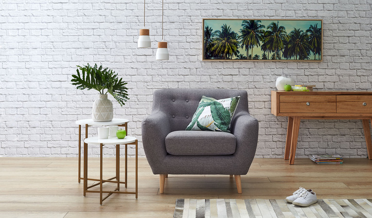 Poppy armchair caiden grey