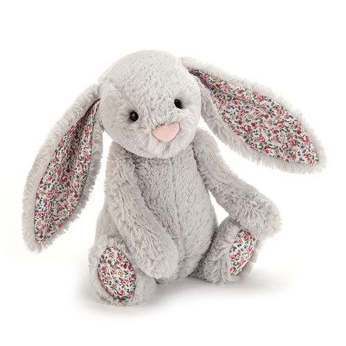 jellcat Blossom Bashful Silver Bunny loves flowers so much that she wears them on her paws and ears! She's happiest of all when rolling through the buttercups and whizzing down hills!