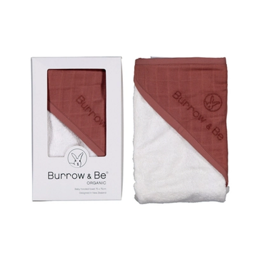 Gorgeous baby hooded towels by Burrow and Be are made from 100% GOTS certified organic cotton. Each towel is made from beautiful soft terry towelling and bound. The hood is detailed with a layer of coloured muslin and the Burrow and Be logo subtley embroidered.