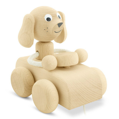 Wooden Toys from Czech Republic Toot toot, here comes an adorable driving dog. Made of perfectly polished natural wood