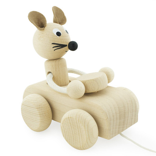 Say hello to our happy little mouse, Albert! Albert the toy wooden push along mouse loves driving his friends around and taking spontaneous road trips. He's another one of our unique and traditional wooden pull along toys.