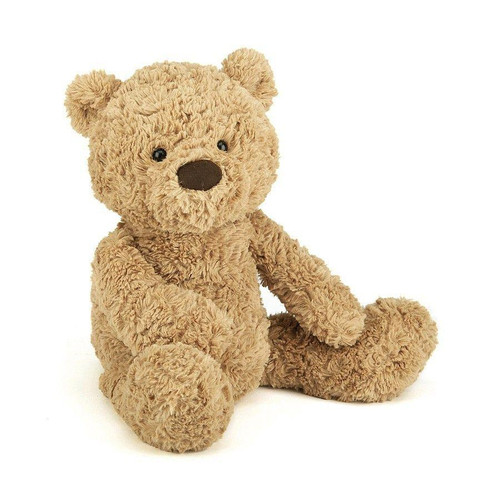 A sandy, dandy teddy, Bumbly Bear is simply scrummy. A ruffly, fluffy fellow with an extra-long snout for vintage style, he's a classic bear with a modern twist