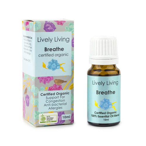 Breathe is 100% Certified Organic Essential Oil Blends, is ideal for those suffering with asthma, sinus issues or congestion, as well as anyone who would like to clear their airways and improve their general breathing.