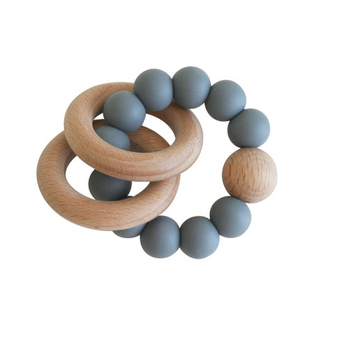 Alimrose - Smooth natural beechwood teether ring set in storm grey. Features easy to grab shape with soft silicone beads to massage sore gums. Modern and practical!