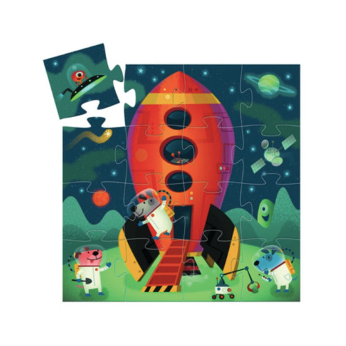 Djeco - Blast off with this galactic 16 piece puzzle. Features adorable animals in space. Comes in a rocket ship silhouette box with moveable shooting star feature.