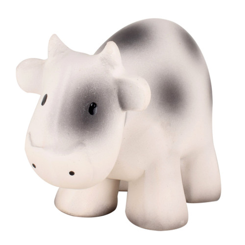 An adorable all rubber cow teether that is great for little hands to grab and squeeze. Features a little bell that rattles inside to delight and entertain little ones.