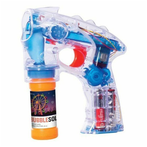 Squeeze the trigger for light up bubble power with our bubble blaster