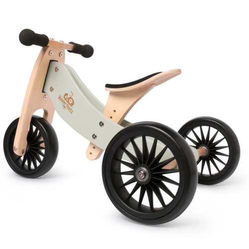Kinderfeet Tiny Tot, 2-in-1 bike that easily converts from a tricycle to a 2-wheel balance bike. Designed for ages 18 months to 4 years. Made out of Bamboo