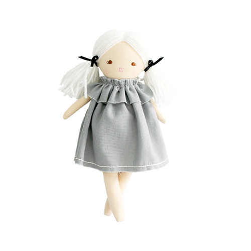 Mini Matilda by Alimrose is an adorable doll with gorgeous blonde hair and an on trend grey linen frock. So comfy!