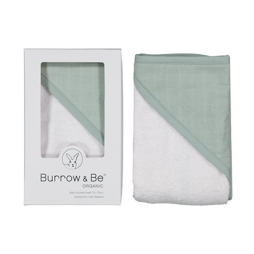 Gorgeous baby hooded towels by Burrow and Be are made from 100% GOTS certified organic cotton. Each towel is made from beautiful soft terry towelling and bound. The hood is detailed with a layer of coloured muslin and the Burrow and Be logo subtly embroidered.